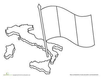 Worksheets: Italian Flag Coloring Page