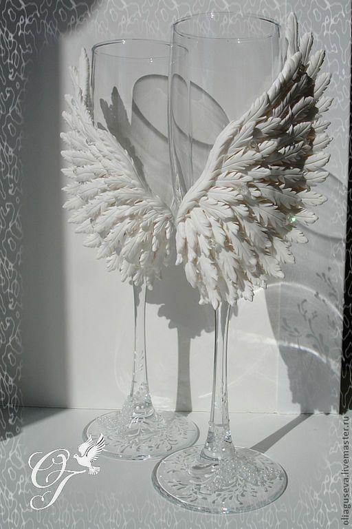 """Купить Свадебные бокалы """"Крылья ангела"""" - свадьба, ангелы, крылья, любовь, крылья ангела"""