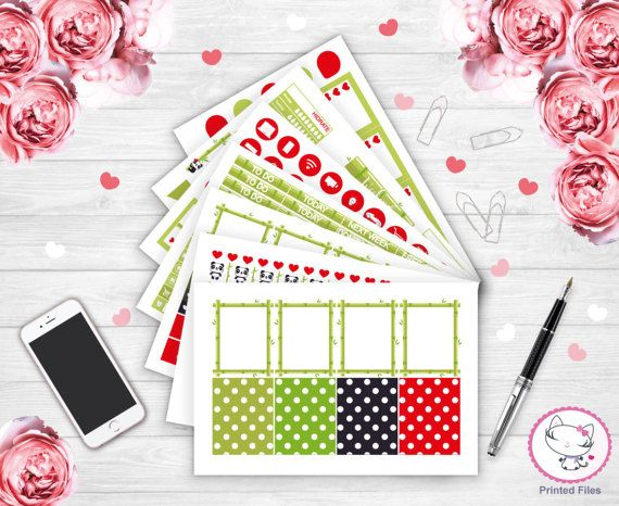 Panda stickers stickers for planners weekly planner monthly