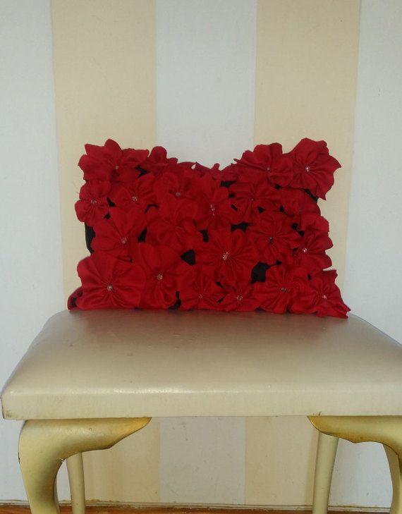 Beautiful red 3d flowered decor pillow