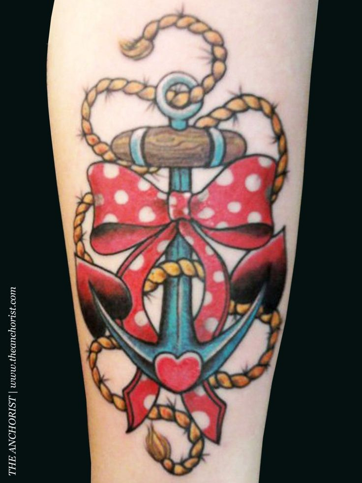 anchor with polka dotted bow tattoo. Incorporate into half sleeve idea