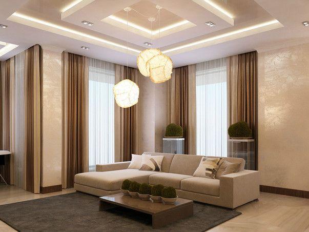 В оформлении кухни-столовой-гостиной использованы самые разнообразные фактуры, от дерева до металла. Продуманный дизайн потолка и освещение в гостиной объединяют все зоны в единую композицию