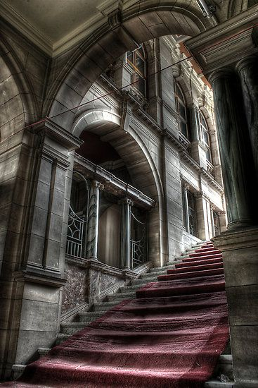 : Old Abandoned Building, Richard Shepherd, Abandoned Mansions And Castles, Red Carpets, Derelict Places, Abandoned Castles, Real Haunted Places In England, Beautiful Staircases Mansions, British Accent