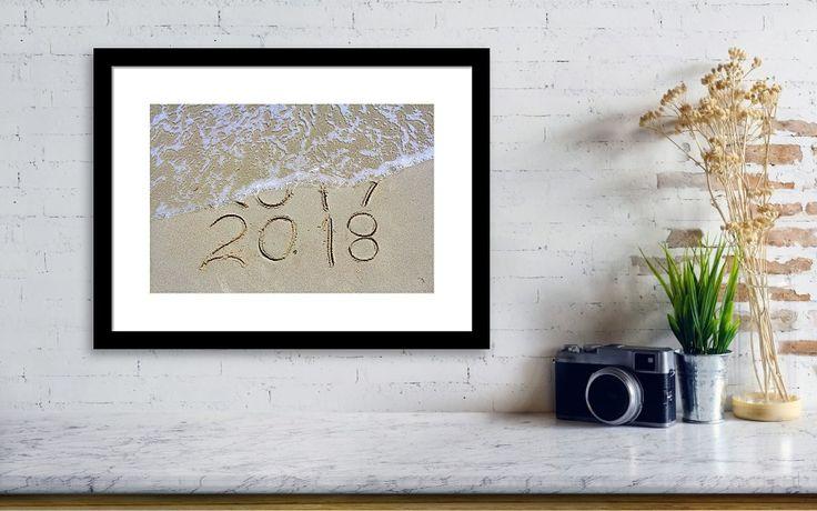 Bye Bye 2017 Welcome #2018!!  #poster #christmas #beach #coastal #nautical #waves #print #newyear #oceanwaves #beachdecor #nauticalwalldecor #beachhomedecor #christmasgifts  #christmasdecor #newyearparty #newyear2018