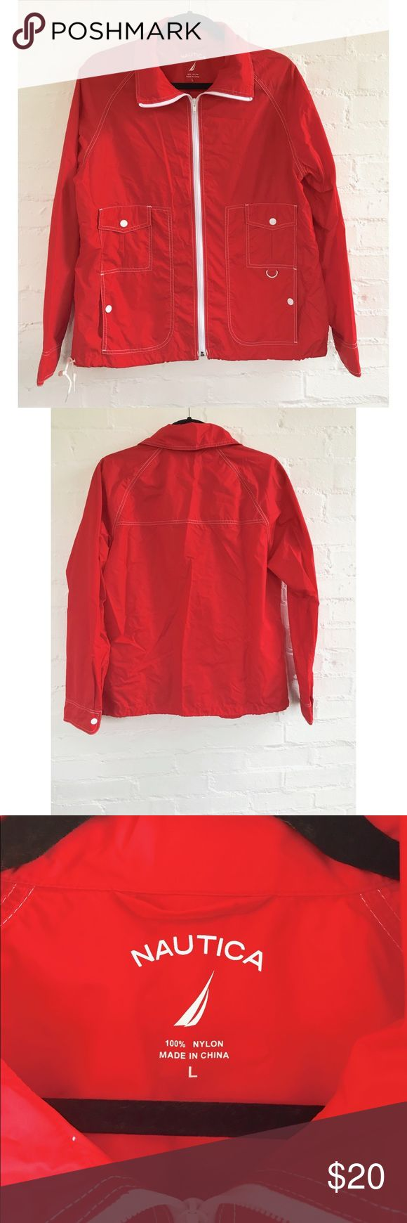 NWOT Nautica Windbreker Cherry red Nautica woman's windbreaker! New without tags — never worn—great condition. Lightweight and the color can't be beat. Chest: 22in Length: 25in Nautica Jackets & Coats