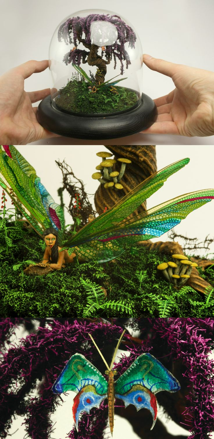 Glass dome with dragonfly-woman and lots of other small details. Tree is made from steel wire, coated with glue/flour mix. I used a microscope to paint the butterfly.