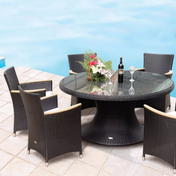 Outdoor Royal Teak 60 in. Helena Full Weave Patio Dining Set - Seats 6 - P72BL
