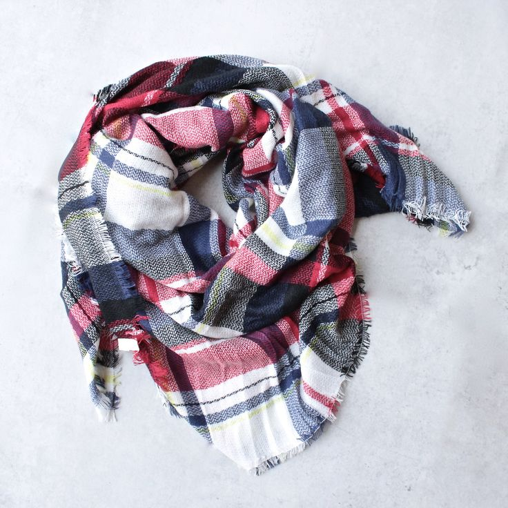 oversize plaid blanket scarf - red - shophearts - 1