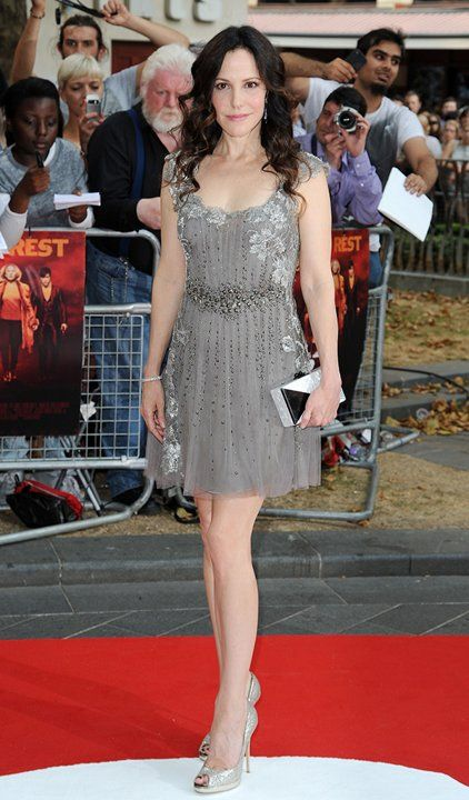 "Mary-Louise Parker in Alberta Ferretti and Jimmy Choo at the ""Red 2"" premiere at Odeon Leicester Square in London"