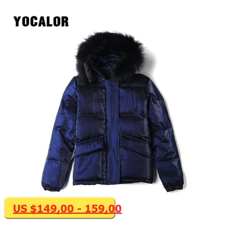 YOCALOR Raccoon Fur Womens Down Jackets Short White Duck Down Thick Warm Puffer Winter Female Bomber Jacket Outerwear Coats