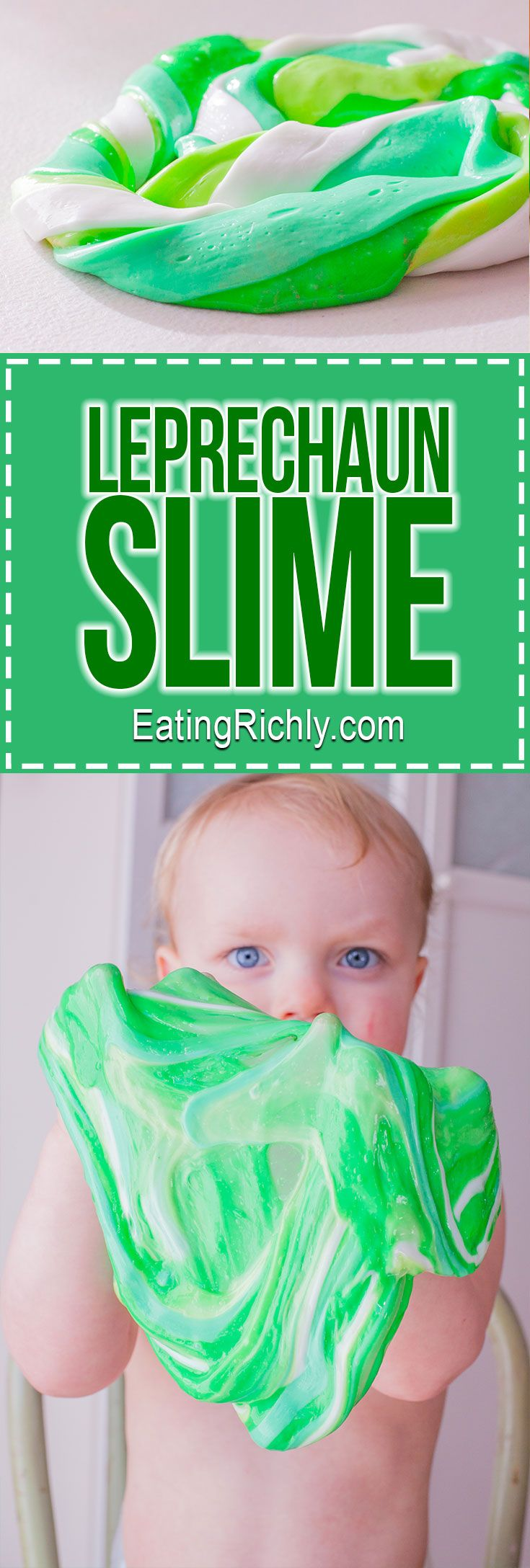 Kids love the sensory experience of this Leprechaun Slime. Great activity for St. Patricks Day! #craft #slime #stpatricksday #sensory #sensoryplay