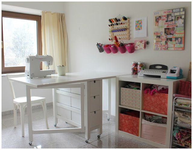 Craft corner. Ikea Norden Gateleg table on wheels. Perfect for small spaces since both sides fold down.