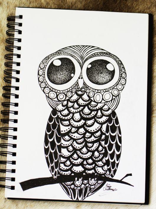 Owl_Doodle_Drawing_pen_marker_black_artwork_illustration_art_Maria_Christina_Heidemann_01