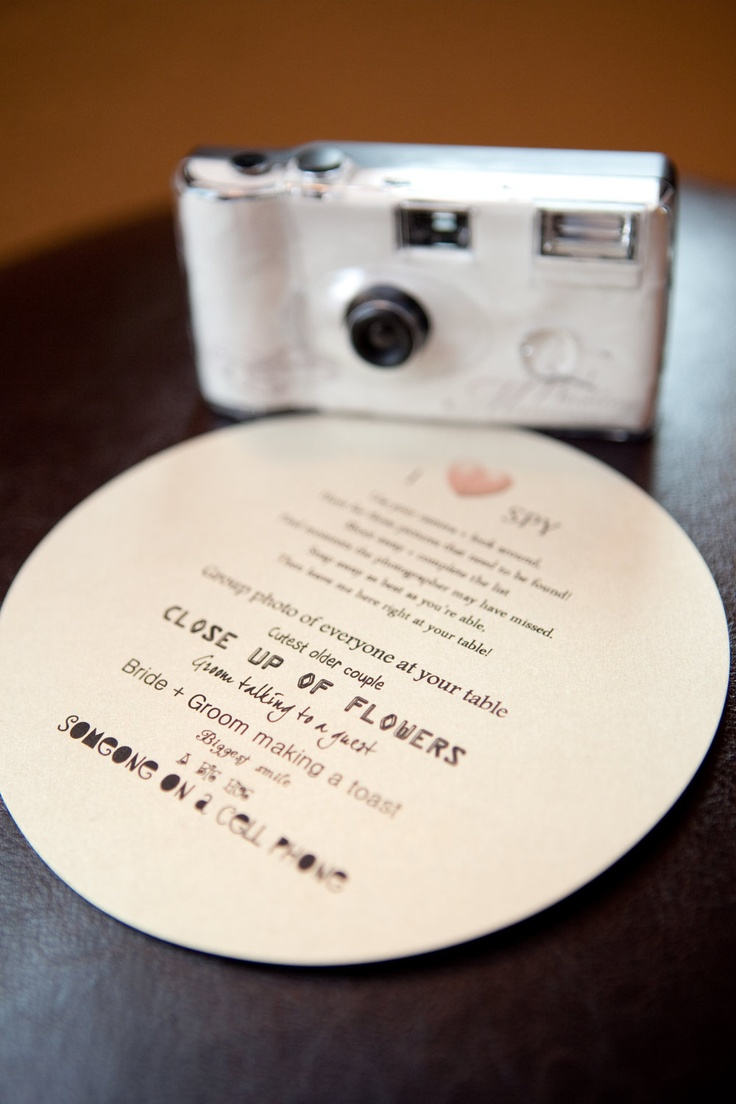 I Spy cards, a great way to get a different view of the wedding!