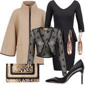 Vestito nero giacca beige 04