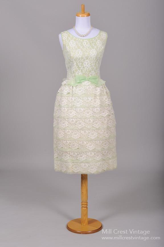 1960 Mint Green Tiered Wedding Dress-Mill Crest Vintage