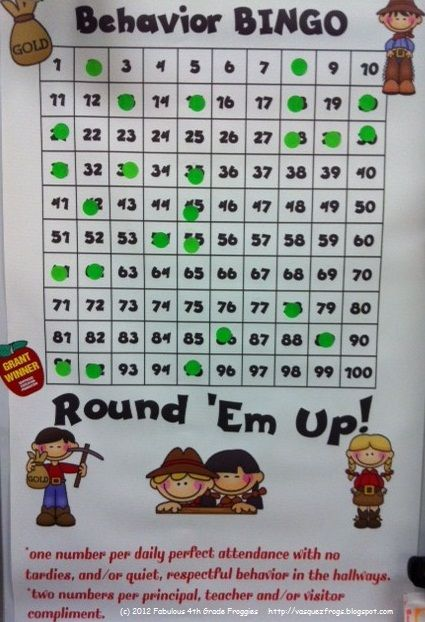 Behavior BINGO. setting this up THIS WEEK! Large 100 chart for the classroom, class rewards when they get BINGO. Earn 1 sticker for perfect class attendance and no tardies, or for good behavior in the hallway, etc. 2 stickers for a compliment, etc. Teacher keeps # 1-100 in a bucket and draws out when they earn a sticker, so they never know which numbers will be covered yet.