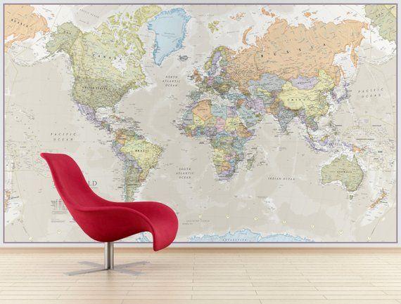 giant world map mural - classic - home decor, living room, bedroom