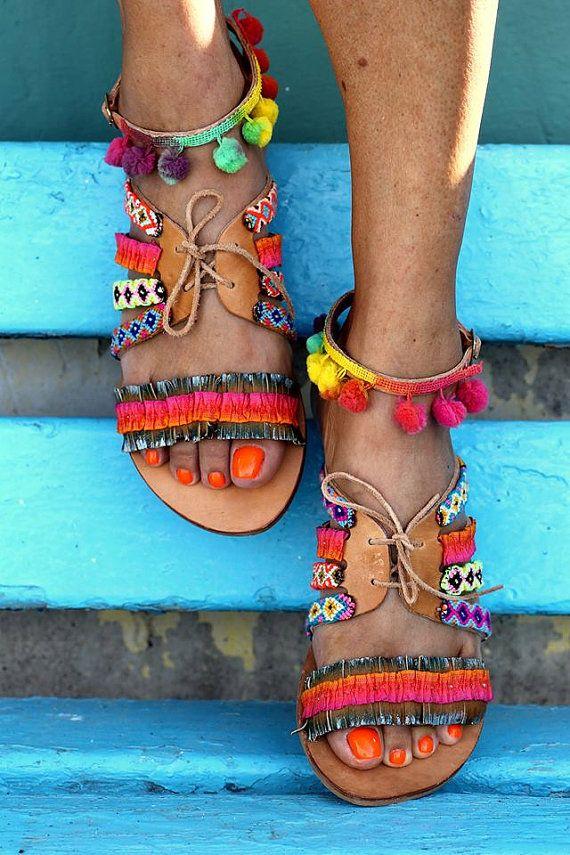 Sandals Hula Hoop handmade to order por ElinaLinardaki en Etsy