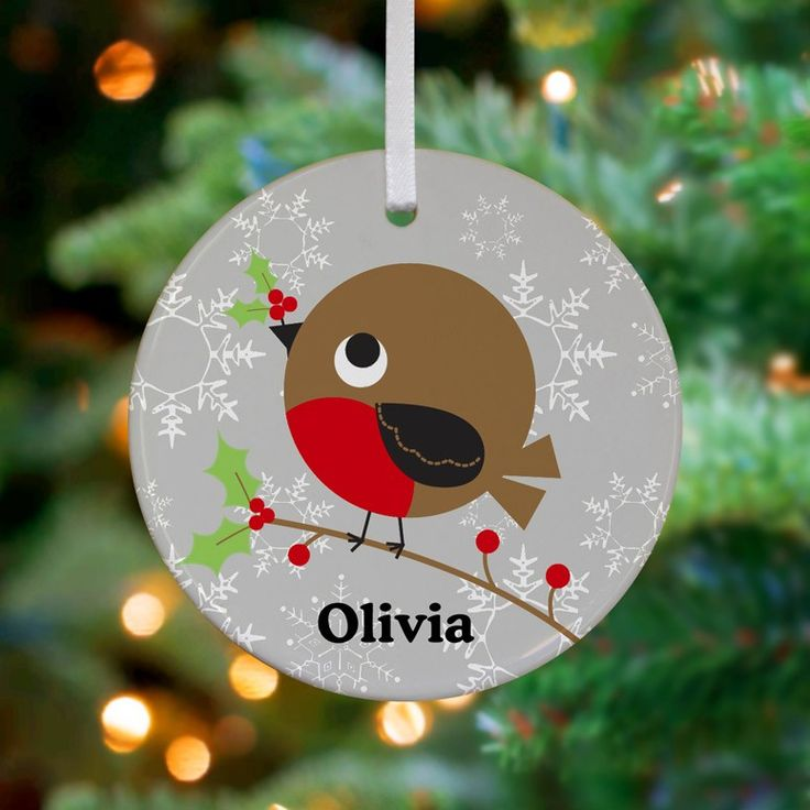 """Holly Berry Bird"" Personalized Ceramic Ornament by Jillian Phillips for Oopsy Daisy $16"