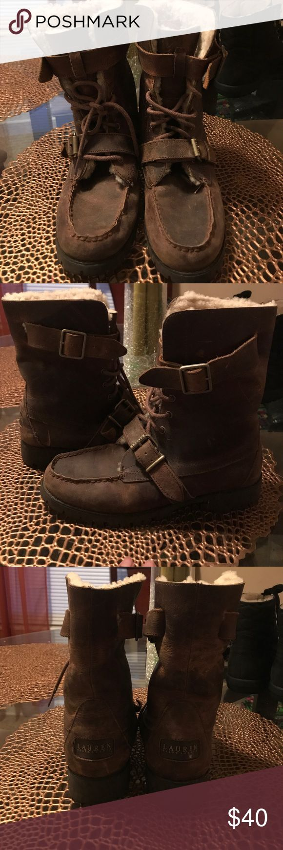 Ralph Luaren leather boots Brown leather boots Lauren Ralph Lauren Shoes Winter & Rain Boots