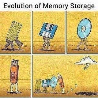Evolution of Memory Storage.  #javascript #angularjs #reactjs #webdevelopment #webdeveloper #webdesign #webdesigner #html #html5 #bootstrap #application #app #development #programming #css #css3 #js #jquery #php #nodejs #ruby #java #android #laravel #mongodb #nosql #mysql #postgresql #expressjs #python