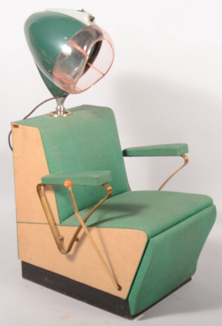 Art Deco Style Mid Century Modecraft Rayette Electric Hair Dryer Chair with adjustable drying hood and mechanized foot rest. Original green and tan textured vinyl upholstery.
