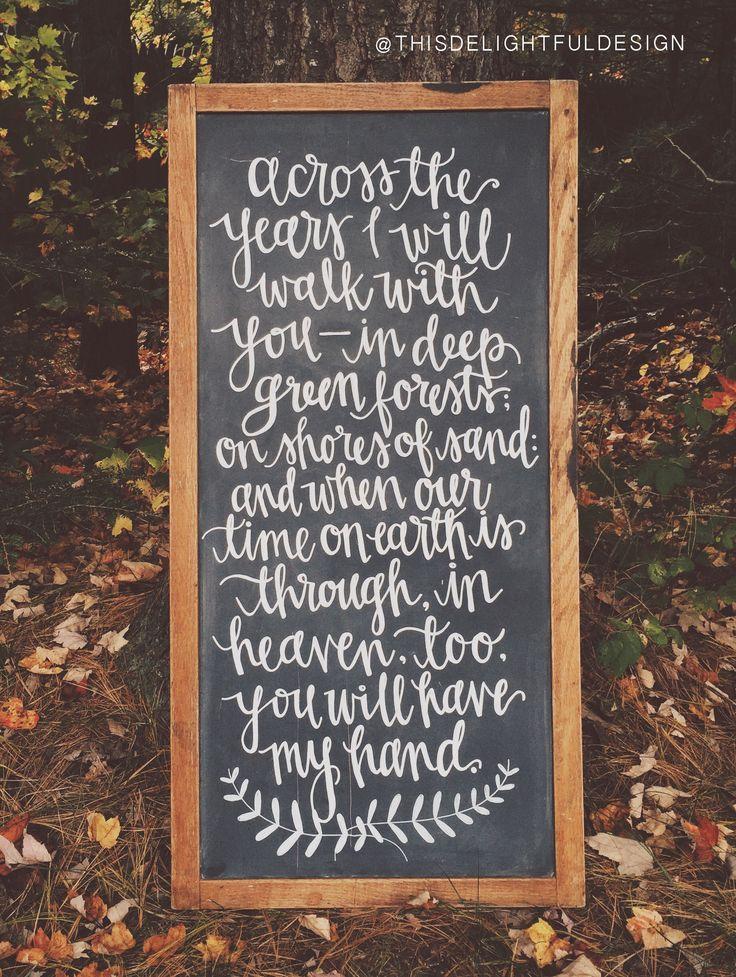 Wedding Chalkboard Signage | Hand Lettering | Poem | Wedding Decor | Custom Chalk | Fall Rustic | This Delightful Design by Katie Clark | katieclarkk.com