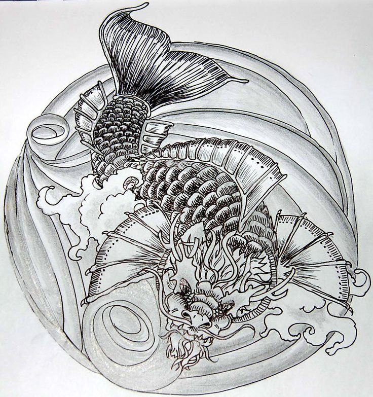 42 Best Koi Dragon Tattoo Drawings Images On Pinterest