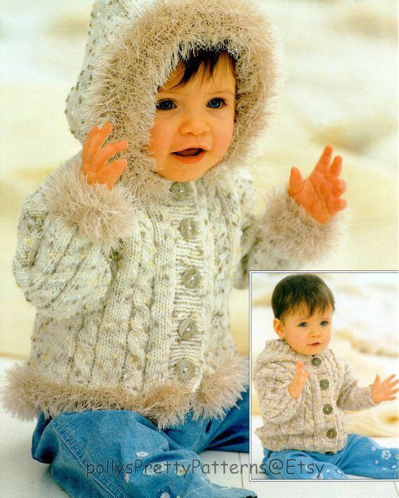 bac6a33b0beb PDF Digital Knitting Pattern Baby Childrens Cable Hooded Cardigan ...