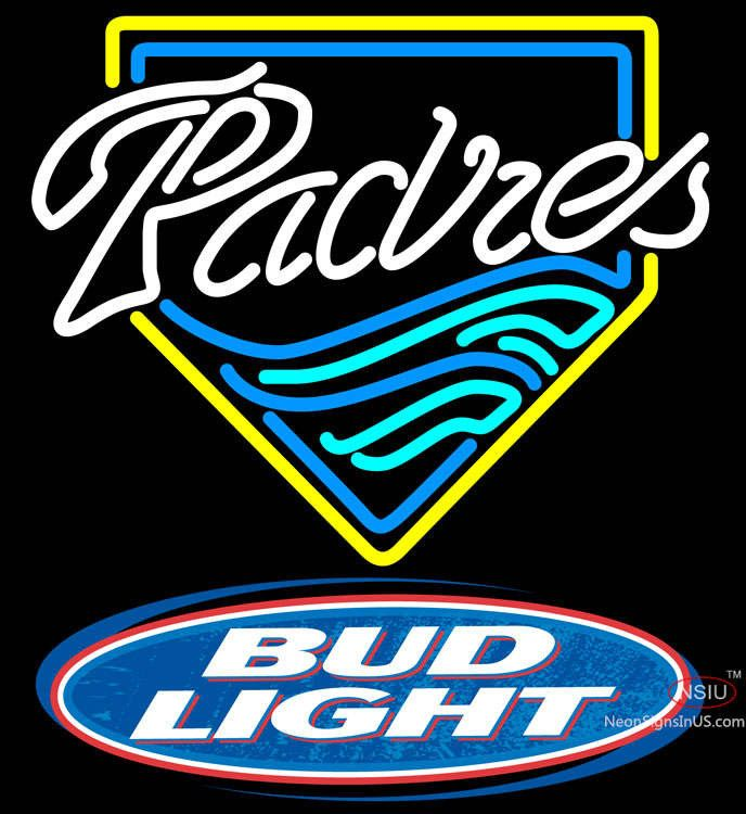Bud Light Logo San Diego Padres MLB Real Neon Glass Tube Neon Sign,Affordable and durable,Made in USA,if you want to get it ,please click the visit button or go to my website,you can get everything neon from us. based in CA USA, free shipping and 1 year warranty , 24/7 service