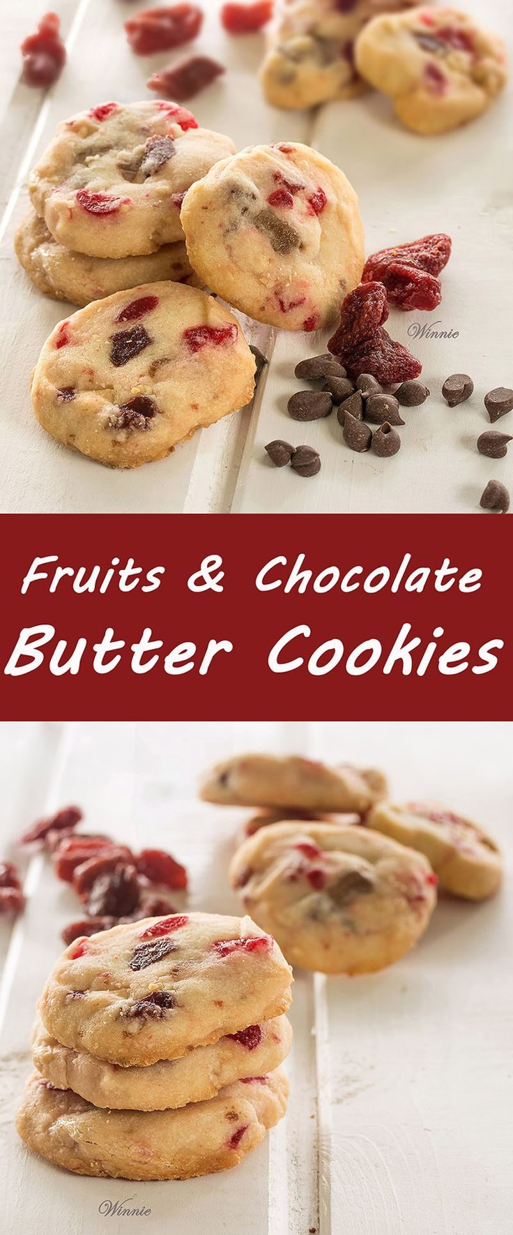 Butter Cookies with dried Cherry, dried Raspberry. white chocolate chips and milk chocolate chips.  The perfect cookies for the holidays, and for all-year-round.
