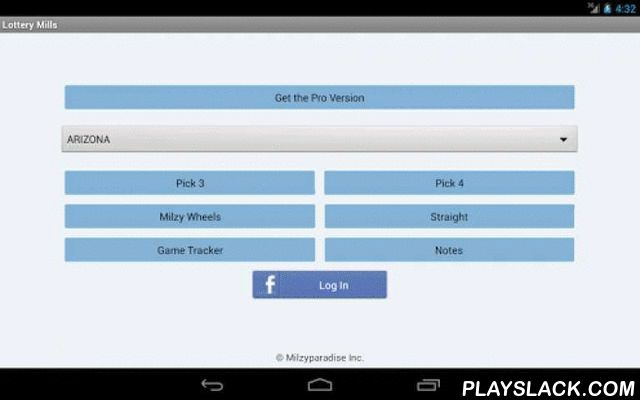 Lottery Mills  Android App - playslack.com , Lottery Mills gives you various features which you can use to win more. You can check lottery results, find frequency & ranks of Pick 3 or Pick 4 digits, get instant notifications when your number comes up in a draw, save the history of your draws, play a game simulating actual lottery potential earnings and post your winnings on Facebook...Here are the features of this app:- Get latest pick 3 & 4 draw results- Calculate frequency and ranks of…