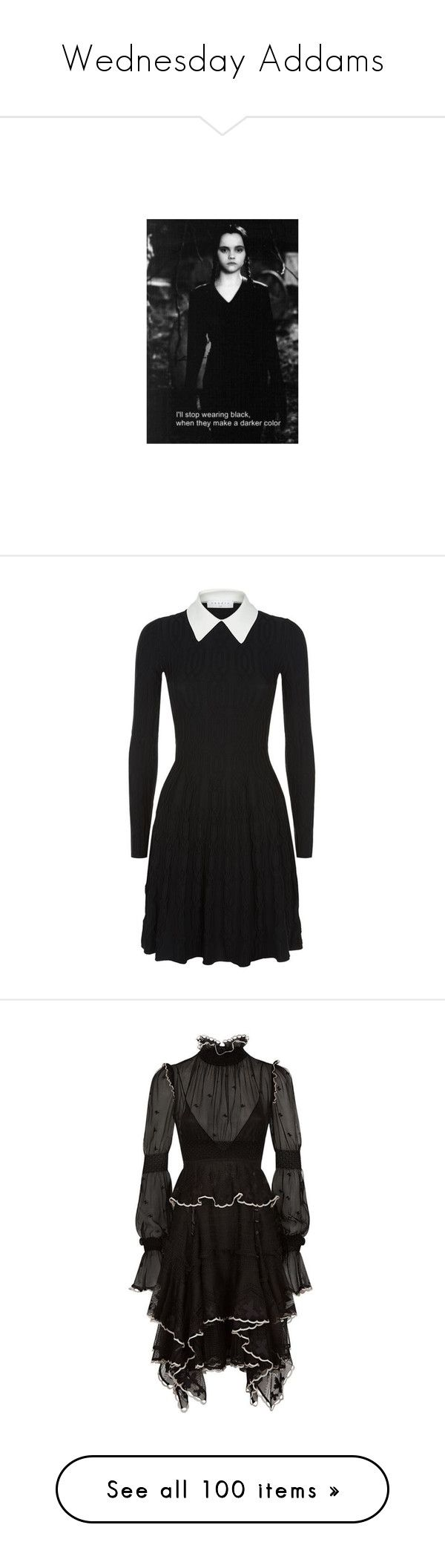 """Wednesday Addams"" by lj-case ❤ liked on Polyvore featuring dresses, textured ... 1"