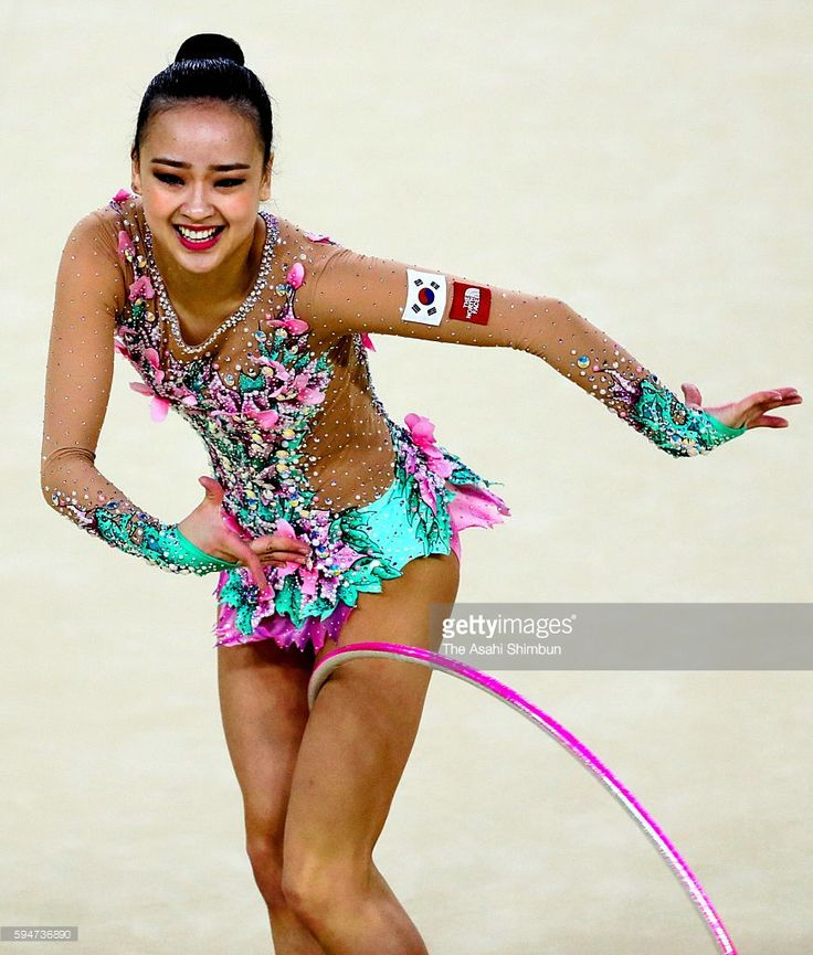 Son Yeon Jae of South Korea competes in hoop of the Individual All-Around final on Day 15 of the Rio 2016 Olympic Games at Rio Olympic Arena on August 20, 2016 in Rio de Janeiro, Brazil.