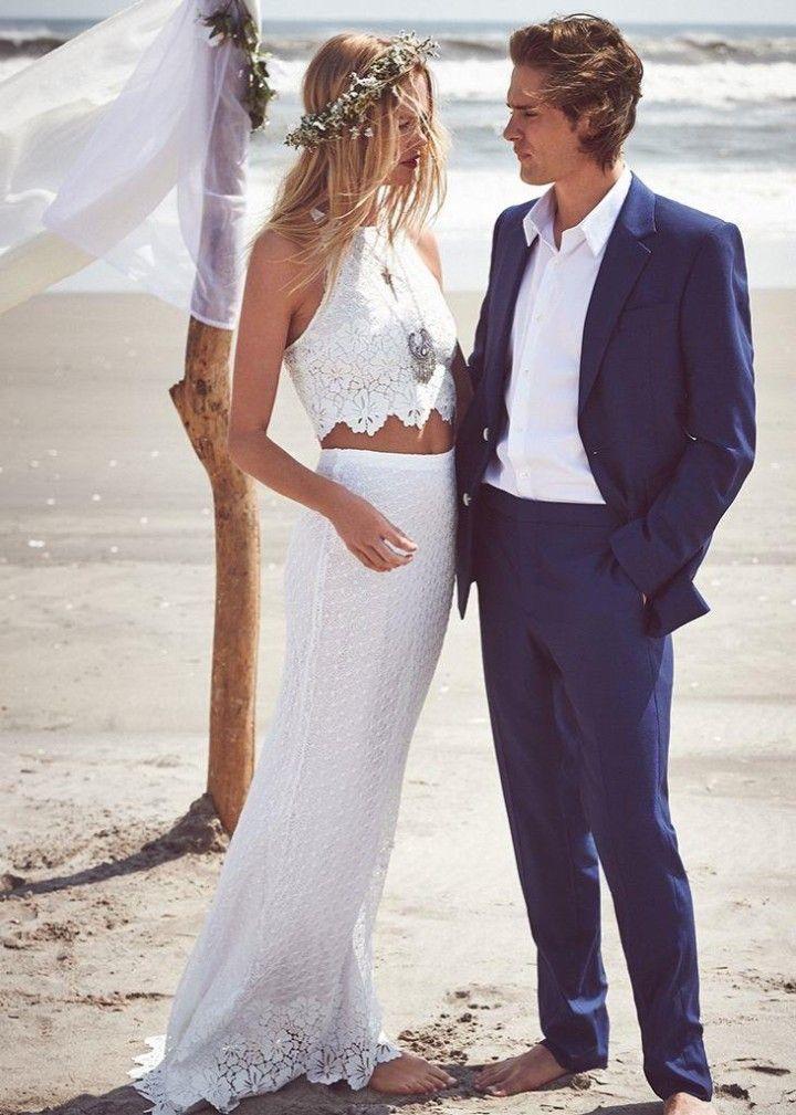 Casual Beach Wedding Dresses. Estilismo de pareja super casual.