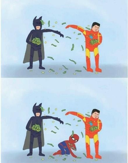 Poor Spidey: Batman Vs, Make Money, Funny Pictures, Peter O'Tool, Irons Man, Spiders Man, Ironman, Poor Spiderman, Marvel Heroes