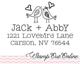 lovebirds return address rubber stamp