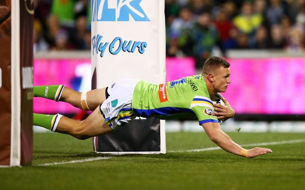 Jack Wighton of the Raiders scores a try during the round 16 NRL match between the Canberra Raiders and the Brisbane Broncos at GIO Stadium on June 24, 2017 in Canberra, Australia.