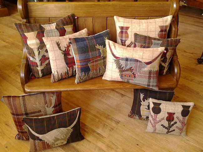 Living In… Scotland --- Simply put., I love the thistle pillows!