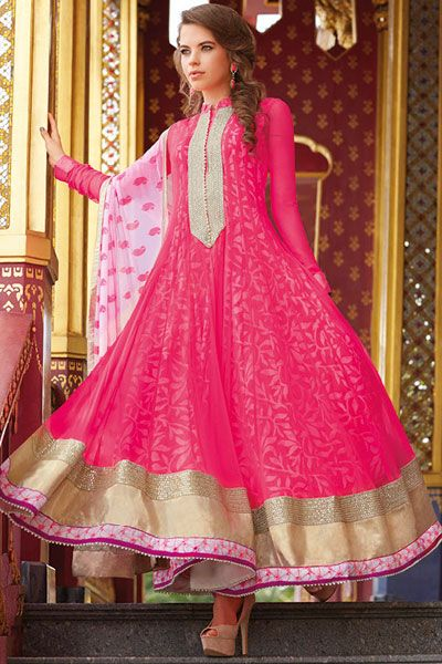 Off-white and French-rose Pink Cotton Embroidered Anarkali Kameez Sku Code:214-3360SL859153 Price: $ 77.00