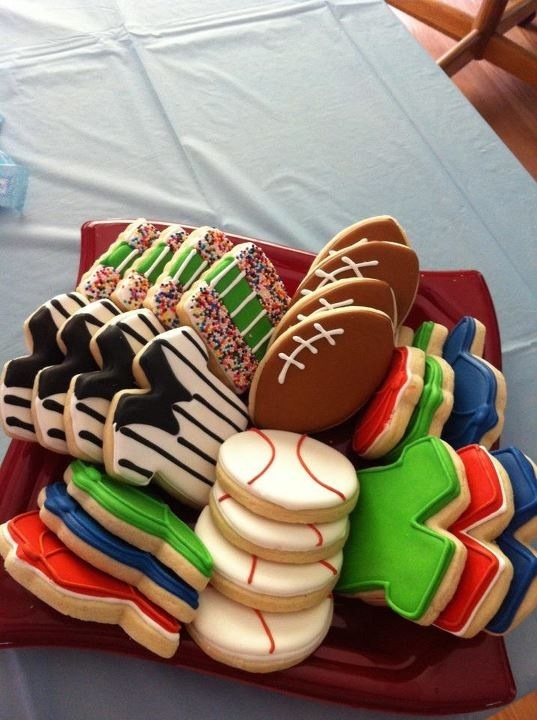 Sports Theme cookies by Tiffany. (Tiffanygreen101@ymail.com)