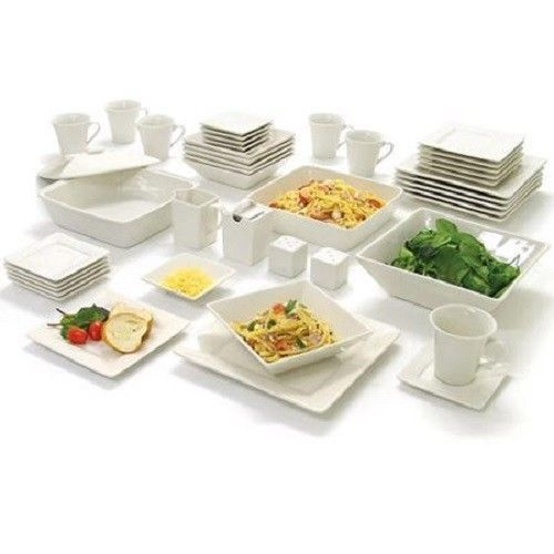 Dinnerware Set 45 Piece Square Banquet Party Stoneware Kitchen Bowls Plates  Cups