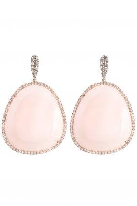 Pink Opal Ohrringe Diamanten Roségold