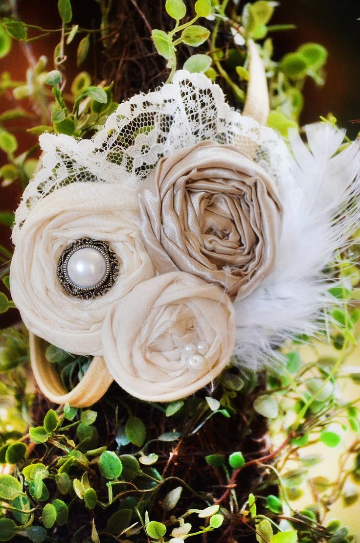 SALE Flower Girl Headband, Vintage Headband, Champagne Headband Bridesmaids Headband Flower girl Headband Feather and lace headband. $22.05, via Etsy.
