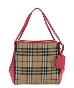 Burberrypink leather and honey haymarket check nylon small  Canterbury  tote 8170d49d7f