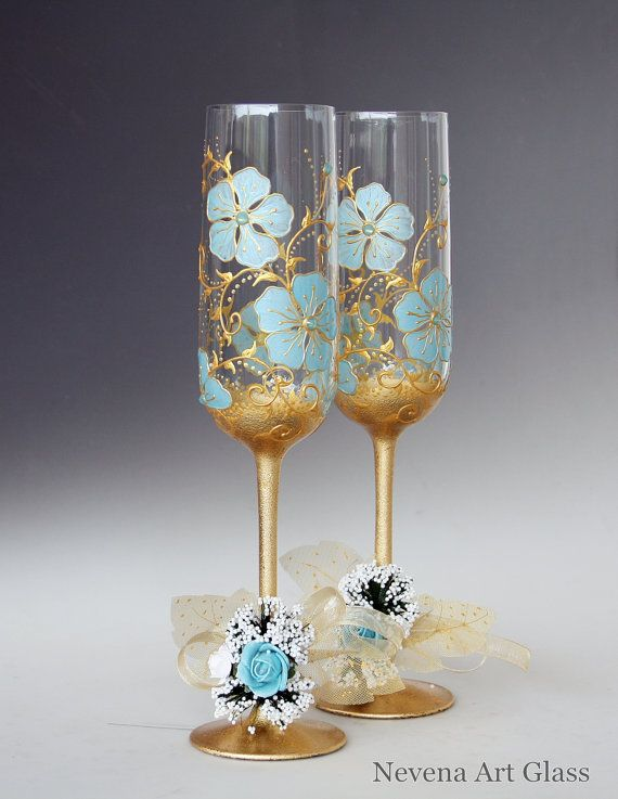Set of 2 Hand Painted Wedding Champagne Glasses, Floral Pattern in Mint and Gold. Attractive transparent gold effect on the stem and base,, Rich