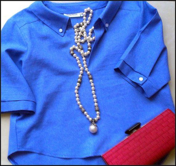 Royal Blue Blouse Cotton Linen Shirt 3/4 by PrincipessaLabel, $45.00