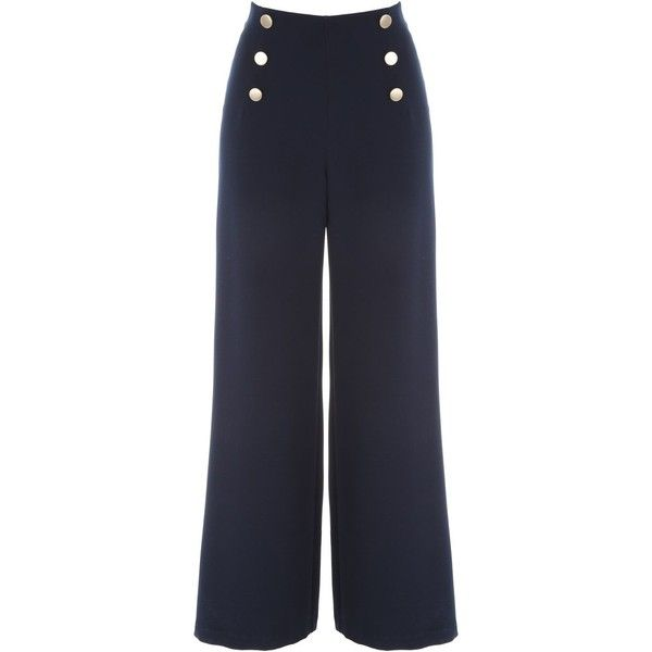 Jane Norman Sailor Button Trouser ($50) ❤ liked on Polyvore featuring pants, bottoms, trousers, navy, women, jane norman, navy palazzo pants, navy trousers, side zip pants and navy blue palazzo pants