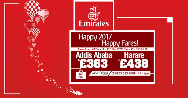 Happy 2017, Happy Fares!  |    Emirates ✈  |   Addis Ababa fr £363 | Harare fr £438  |    Travel from: 05th Jan 17 – 29th Mar 17 / 02nd Apr 17 – 13th Jul 17  |   Special Baggage Allowance 47Kgs  |    ☎ Call us now: 0203 515 9008  |    Book now: http://www.airafrica.co.uk/  |    #airafrica #africantravel #africa #addisababa #harare #travel #flights #flightoffers #emirates